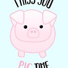 I miss you PIG time - Pig Pun - Cute pig - Pig Gifts - Miss you card - Hog - Adorable - Pink - Blue by JustTheBeginning-x (Tori)