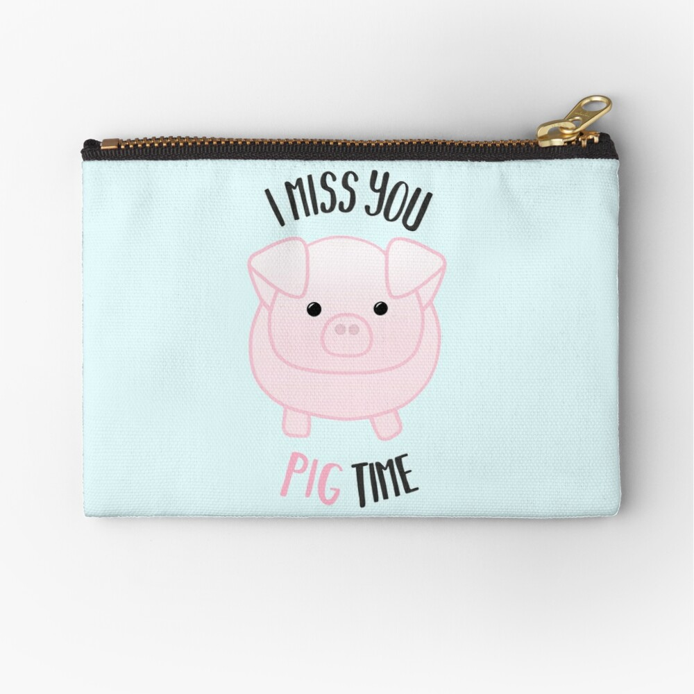 I miss you PIG time - Pig Pun - Cute pig - Pig Gifts - Miss you card - Hog - Adorable - Pink - Blue Zipper Pouch