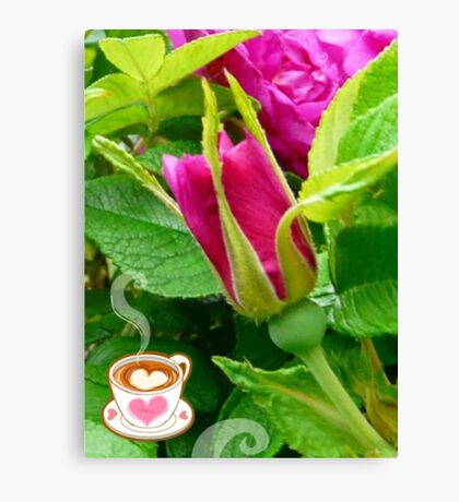 Valentine Rose Bud and a Cup of Hot Chocolate Canvas Print
