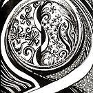 Midsummer Waves, Ink Drawing by Danielle Scott