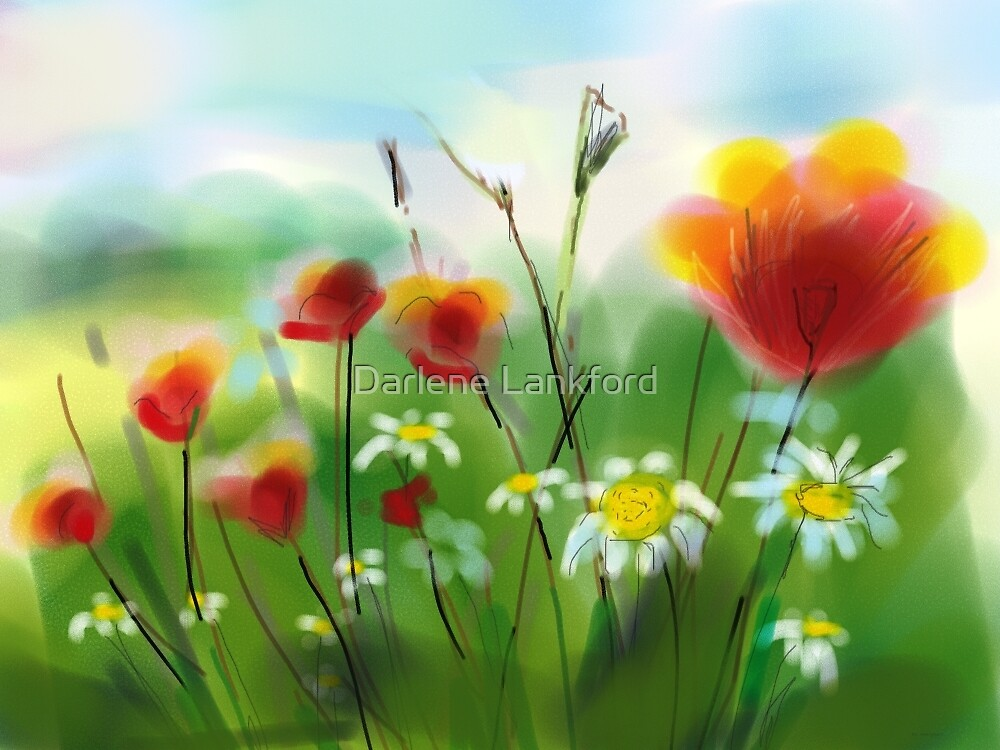 Poppies and Daisies Painting by Darlene Lankford Honeycutt