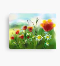 Poppies and Daisies Painting Canvas Print