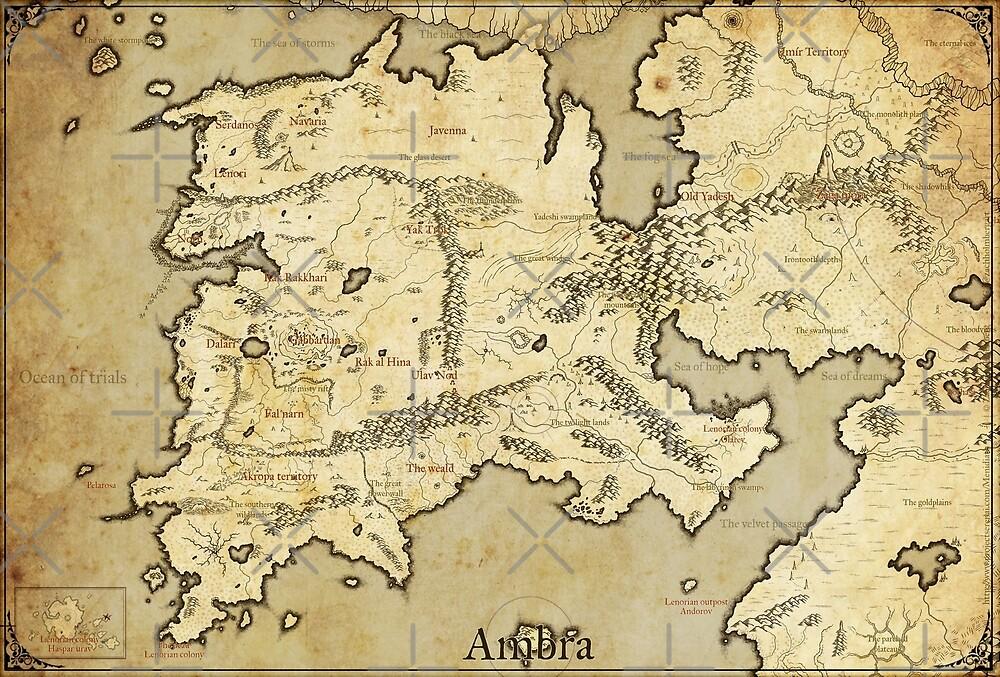Fantasy map - Ambra, Menidiath by zachholmbergart