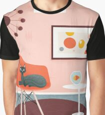 Midcentury Coral Decor With Black Cat And Gold Fish Graphic T-Shirt