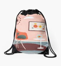 Midcentury Coral Decor With Black Cat And Gold Fish Drawstring Bag