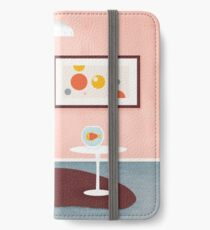 Midcentury Coral Decor With Black Cat And Gold Fish iPhone Wallet/Case/Skin