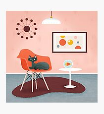 Midcentury Coral Decor With Black Cat And Gold Fish Photographic Print
