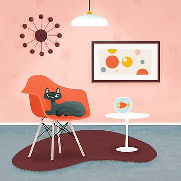 Midcentury Coral Decor With Black Cat And Gold Fish by BunnyThePainter