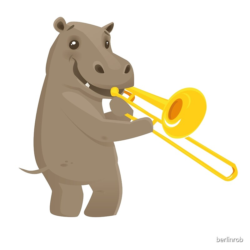 Quot Funny Hippo Playing Music With Trombone Quot Art Prints By