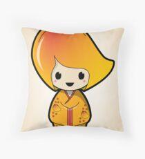 Mango Kokeshi Doll Throw Pillow