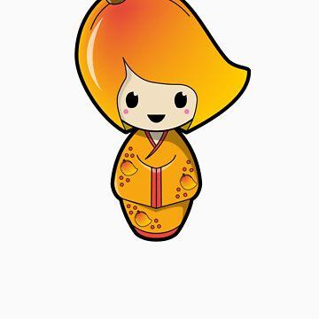 Mango Kokeshi Doll by BubbleDoll