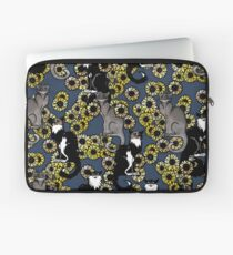Sunflower Cats Le Chat Noir Calico and Grey Laptop Sleeve