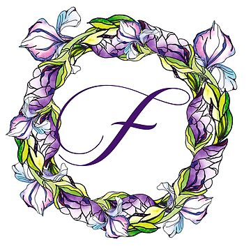 iris floral Letter F- uppercase Alphabet, Monogram, Initial  by ArtOlB