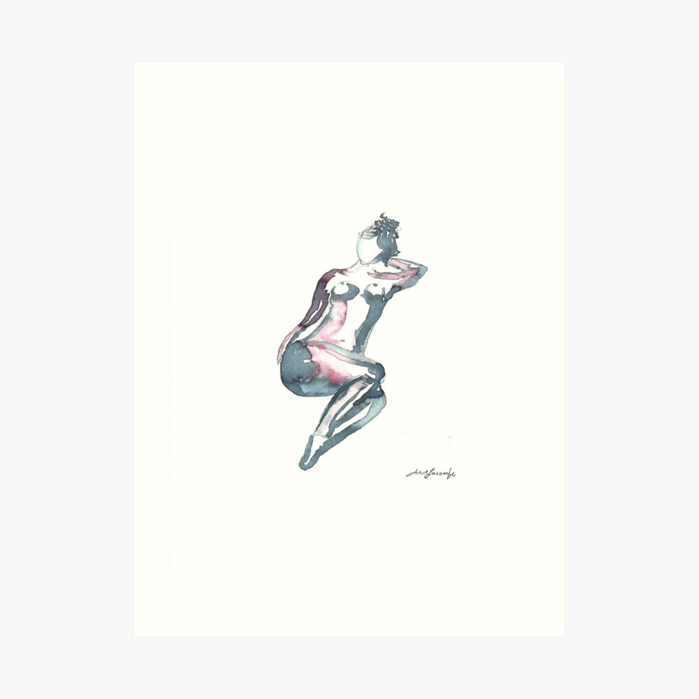 Water colour nude  Art Print