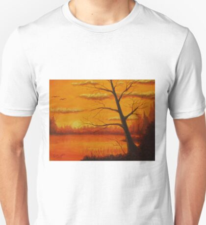 Sunset over the lake. T-Shirt