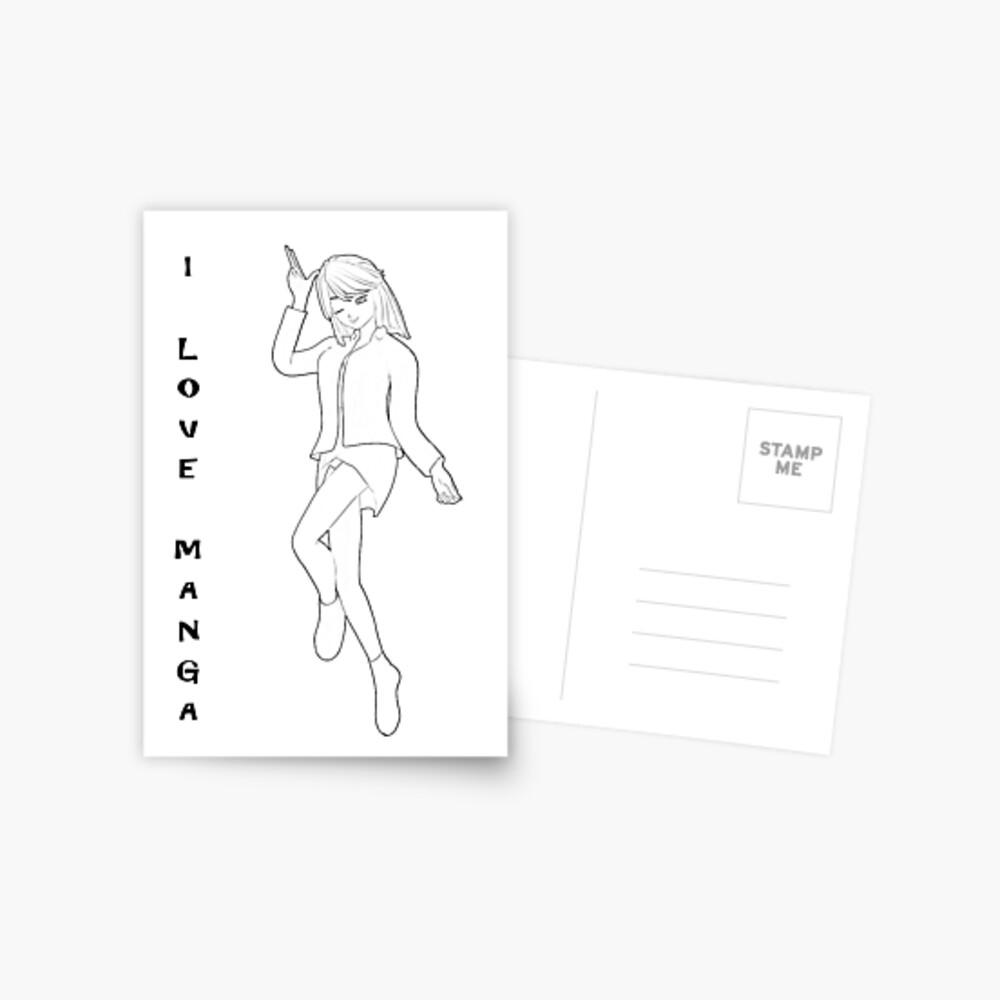 süßes Manga Mädchen Postkarte