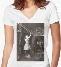 Striking Historical Photo That Bring the Past to Life #HistoricalPhoto #Historical #Photo #vintage #clothing, #people, #adult, #group, #child, #vertical, #brown, #photography, #clothing, #women, #men Women's Fitted V-Neck T-Shirt