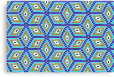 Blue and Gold Tilted Cubes Pattern