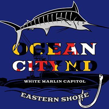 Ocean City Maryland Flag White Marlin Capital by ThreadsNouveau