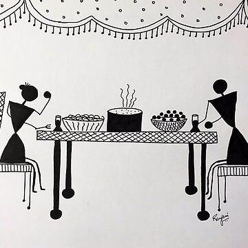 Warli - Family dinner by ranjaniart