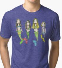 Tane's Drawing of My Girls as Mermaids Tri-blend T-Shirt
