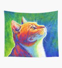 Rainbow Cat Portrait Wall Tapestry