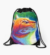 Rainbow Cat Portrait Drawstring Bag