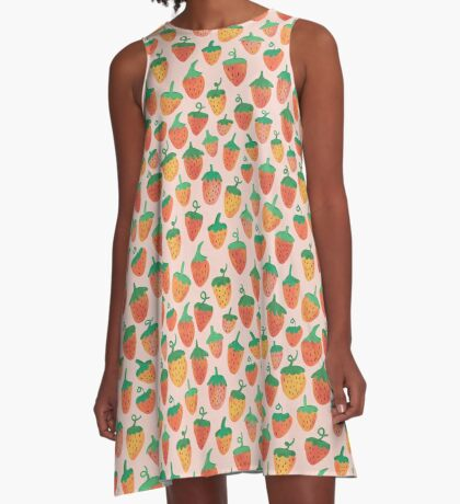 Painted Strawberries A-Line Dress