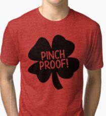 Pinch Proof dark clover leaf design Tri-blend T-Shirt