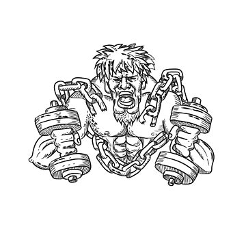 Buffed Athlete Dumbbells Breaking Free From Chains Drawing by patrimonio
