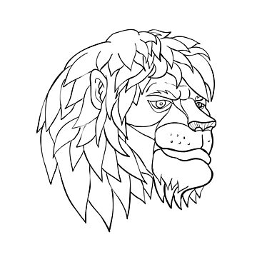 Pensive Lion Head Cartoon Black and White by patrimonio