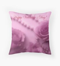 Happy Valentines Day With Soft Pink Roses And Pearls Throw Pillow