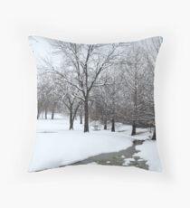 Snowy Stream Throw Pillow