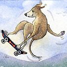 Greyhound Dog, Flying High on his Skateboard by SusanAlisonArt