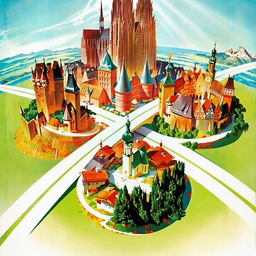Germany Vintage Travel Poster Restored by vintagetreasure