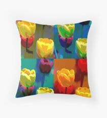 Colorized Tulips Throw Pillow