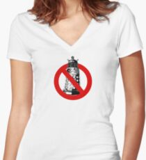 WHO you gonna call? White Women's Fitted V-Neck T-Shirt