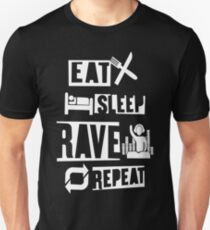 EAT SLEEP RAVE REPEAT T SHIRT MUSIC RAVE PARTY DJ DANCE MINISTRY OF SOUND !