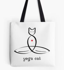"Stylized Cat Meditator with ""Yoga Cat"" in fancy text Tote Bag"