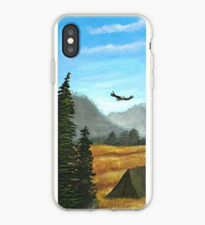 Camping in blue and gold iPhone Case