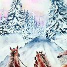 Winter Day-Watercolor by AdrianaMijaiche