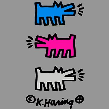 KEITH HARING´S DOG POP ART (BLUE/PINK/GREY) (V1) by SUNSET-STORE
