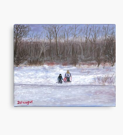 Christmas sledding in Wisconsin Canvas Print