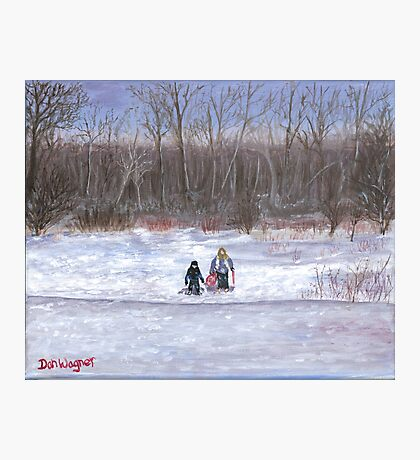 Christmas sledding in Wisconsin Photographic Print