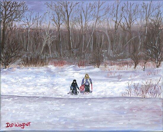 Christmas sledding in Wisconsin by Dan Wagner