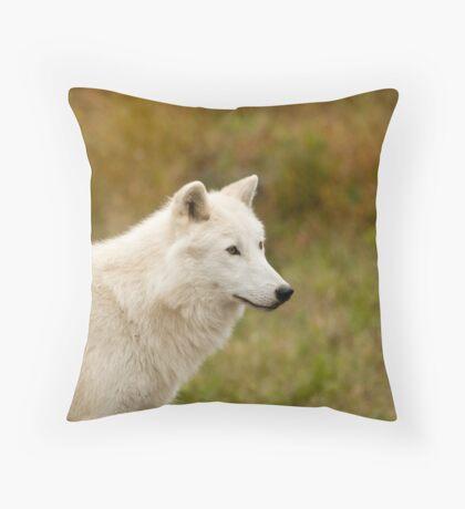 Arctic Wolf Close up  Throw Pillow