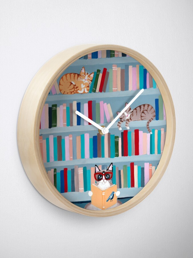 Alternate view of Cats in the Library Clock
