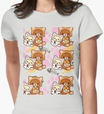 Kitty Paws ~ Rilakkuma & Korilakkuma Womens Fitted T-Shirt