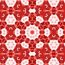 Red Kalos Two - Geometric Kaleidoscope Abstract by Jenny Meehan by Jenny Meehan