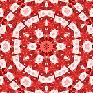Red Kalos 5 Kaleidoscopic Pattern - Jenny Meehan  by Jenny Meehan